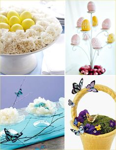 Stylish & Modern Easter Centerpieces-I especially love the blue one with butterflies and eggs