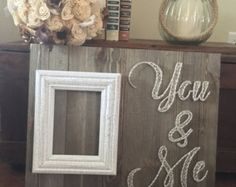 You and me string art picture frame by on Etsy String Art Templates, String Art Patterns, Nail String Art, String Crafts, Picture Frame Art, Picture String, Thread Art, Wood Art, Wood Wood