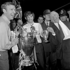 116b1e9c5254 Paddy Crerand, George Best and Sir Matt Busby after winning the European  Cup, 1968