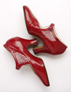 Pair of Red Shoes, England, Great Britain, ca.1925, no label, leather and canvas