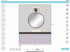 Bathroom vanity with a round mirror. How to draw a tile installation. Visualizer App, Interior Design And Construction, Tile Layout, Tile Installation, Round Mirrors, Designs To Draw, App Design, Kitchen Design, Vanity