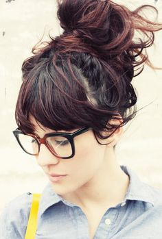 messy bun & bangs