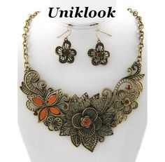 VINTAGE MARCASITE LOOK GOLD TOPAZ FILIGREE FLORAL NECKLACE EARRINGS SET JEWELRY. $22.65