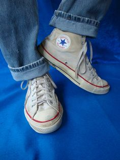 Vintage 60s CONVERSE Chuck Taylor High Top All Star Sneakers. Fastbreak White Grunge Shoes. Mens Basketball Blue Heel tag. Size 10 1/2. $100.00, via Etsy.