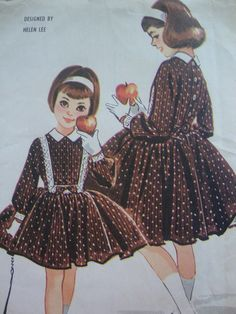 lovely vintage 1958 mccalls girls DRESS petticoat sewing pattern HELEN lee design SIZE 8 plastron full skirt party pretty johnny collar via Etsy.