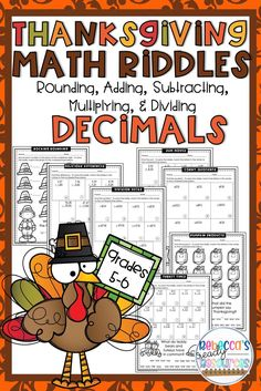 Kids LOVE riddles!! Motivate your students to round, add, subtract, multiply, and divide decimals with this Thanksgiving Riddle Math Packet! This riddle packet is a fun and engaging way for you to provide practice to your students to master these skills. #thanksgivingintheclassroom #thanksgivingworksheets #thanksgivingriddlesforkids #teachersfollowteachers #teacherspayteachers #decimals #4thgrademath #5thgrademath #6thgrademath Math Fractions, Dividing Fractions, Equivalent Fractions, Math Classroom, Classroom Activities, Division Math Games, Thanksgiving Math, Framed Words, Singapore Math