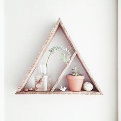 Triangle Shelf With Cubby// Pallet Wood Shelf// Reclaimed Wood// Pallet Art// Reclaimed Wood Shelf// Geometric Shelf// Rustic Home Decor
