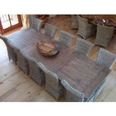 Stunning Reclaimed Teak Extending Table (2.1m to 3m) with 10 Natural Wicker Latifa Chairs - Dining Set £2,650