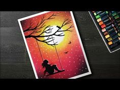How to DRAW Scenery of girl with Oil Pastels step by step - YouTube