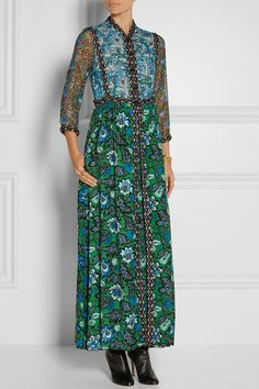 Like the neckline treatment on this dress.  Anna Sui | Printed crinkled silk-chiffon and twill maxi dress | NET-A-PORTER.COM Anna Sui's Fall '15 collection pays tribute to mid-century Scandinavian style. This runway maxi dress is printed with floral and animal motifs reminiscent of folkloric tapestries. Trimmed with tactile embroidery for soft structure, it has an airy crinkled silk-chiffon bodice and pleated twill skirt. Team yours with boots, tempering the sheer finish with a camisole.
