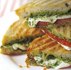 Pesto paninis :) Obviously have to substitute the pesto and make it garlic-free.