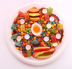 gummy hotdog, hamburger, bacon eggs, bears, runtz, sweettarts, diamonds and mini dried fruits