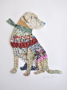 A collage of a labrador using vintage maps (Ledbury, Herefordshire and The Haseleys in Oxfordshire are featured), as well as Liberty print fabrics. These collages can be specially commissioned ...