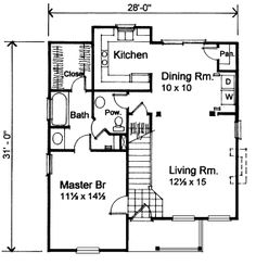 First Floor Plan of Bungalow   House Plan 72723