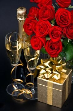 Champagne and red roses for Valentine's