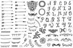 310 elements - Big Vintage Set by Qilli on @creativemarket