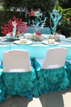 Mermaid party - beautiful custom made mermaid tail kids chair covers, we specialize in kid sized party rentals and provide custom made chair covers to match your theme.  Located in Costa Mesa, CA and can only rent to customers within driving distance.