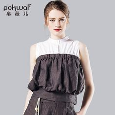 POKWAI High Quality Classic Linen Casual Tshirts Women 2016 Summer Original Designed Sleeveless Patchwork Stand Collar Tops