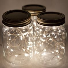 Create Mason Jar Lights: You just need mason jars and a strand of battery operated string lights! Fill the jars and illuminate your evenings inside our out. This makes me think of catching fireflies in a jar on warm summer evenings.