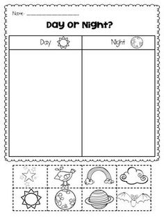 Morning Noon And Night Worksheets For Kindergarten