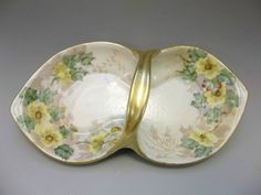 Vintage Hand Painted Double Trinket Dish Signed Yellow Roses Vanity Tray
