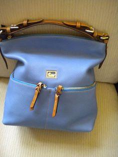Dooney & Bourke Blue Zipper Pocket Leather Satchel Hobo Handbag