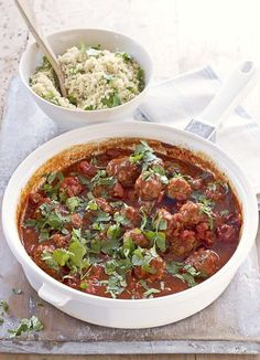 Moroccan meatballs with herb couscous. Gorgeous little lamb meatballs, sitting in a rich tomato sauce and served with buttery coriander and parsley couscous.
