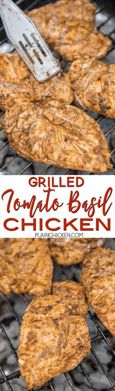 Grilled Tomato Basil Chicken - chicken breast marinated in fresh tomatoes, fresh basil, balsamic vinegar and garlic. This chicken is CRAZY good!!! Great on its own or served on top of pasta. SO much flavor is packed into this easy grilled chicken recipe! Everyone RAVES about this chicken!!