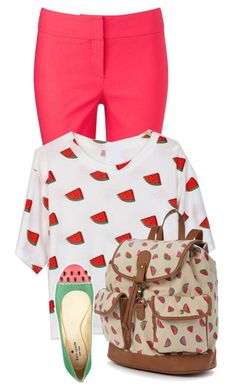 """More Watermelon"" by lillmaddie ❤ liked on Polyvore featuring Phase Eight, Candie's and Kate Spade"