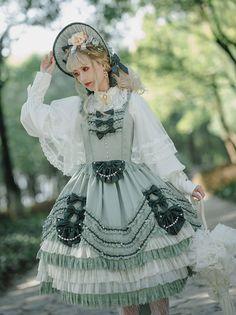 Penny House -The Spring Tea Party- Vintage Classic Lolita Jumper Dress,Lolita Dresses, Harajuku Fashion, Japan Fashion, Lolita Fashion, Estilo Lolita, Frilly Dresses, Pretty Dresses, Lolita Cosplay, Fantasy Dress, Jumper Dress