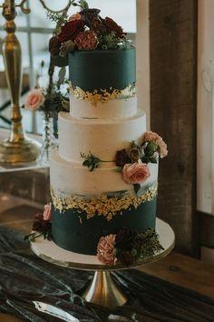 stonefields wedding in Ottawa, Ontario; grey and gold leaf wedding cake; autumn wedding in a barn Floral Wedding Cakes, Wedding Cake Designs, Wedding Themes, Wedding Colors, Wedding Decorations, Wedding Cakes With Gold, Green Wedding Cakes, Barn Wedding Cakes, Autumn Wedding Cakes