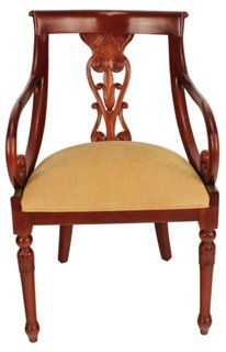 Jasper Carved Armchair, Gold