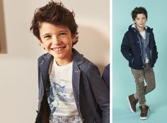 This knitted jacket is soft and warm, which is essential to protect little ones against the first cold snap… with style, naturally. The two-toned jacket is sport-casual, designed for a good fit and ease of movement. The crew neckline is emblazoned with a photographic print while the fleece trousers have square, all over print and over-dyed beige to complete a casual, yet impressive look.  Jacket 4N833, Jacket 4N895, Roundneck 4N830, Trouser 4N855. 3-16 yrs