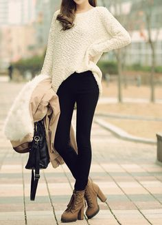 Slouchy sweater // tights // heeled boots