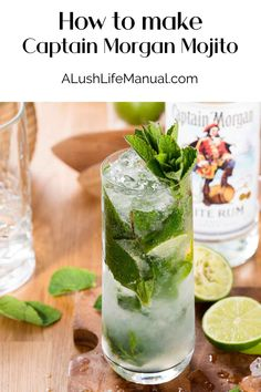 Summer is coming!  A Mojito is the perfect drink for lounging in the sun. This easy cocktail recipe is made with Captain Morgan White Rum. #Rum #Mojito #Cocktail #Recipe Cocktails For Parties, Easy Cocktails, Vodka Cocktails, Cocktail Party Food, Mojito Cocktail, Cocktail Recipes For A Crowd, Food For A Crowd, Rum Recipes, Punch Recipes