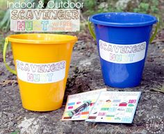 Summer Camp - Indoor/Outdoor Scavenger Hunt FREE Printables. Cute camping theme party activity
