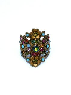 Forget Me Not Ring - Multi-Color Swarovski Crystal On Brass Plating