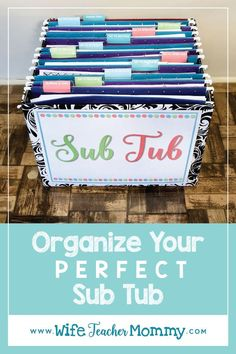 Organize everything your substitute teacher will need ahead of time by creating a sub tub! This will save you time and stress when the time comes that you need to call out sick. Learn how to create the perfect sub tub with this step by step blog post that gives you tips, tricks, and ideas. Theres even a freebie included! #subtub #substitute #substituteteacher