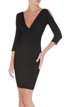 Long Sleeve V-Neck Herve Leger Bandage Dress Black