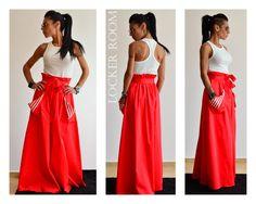 Red Long skirt / Maxi long skirt / Woman cotton long skirt / Woman high waist skirt by ClothesByLockerRoom on Etsy https://www.etsy.com/uk/listing/242507931/red-long-skirt-maxi-long-skirt-woman
