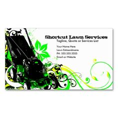 Lawn Service Business Card with mower customizable | Lawn service ...