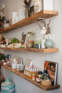 I love these wood floating shelves.