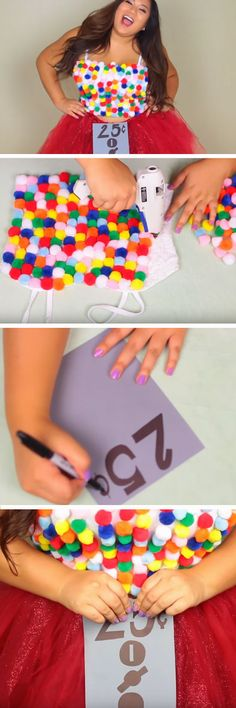 26 DIY Halloween Costume Ideas for Teen Girls. Omg a mom could wear this gum ball machine costume and her kid(s) could be little gum balls! Halloween Kostüm Plus Size, Mode Halloween, Halloween Mignon, Homemade Halloween Costumes, Holidays Halloween, Halloween Crafts, Halloween Party, Halloween Ideas, Devil Halloween