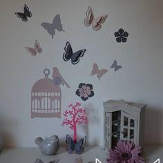 stickers cage oiseaux papillons fleurs et oiseaux rose poudr et gris dcoration chambre