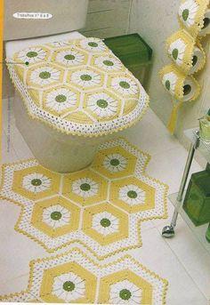 Crochet For Home - Bathroom Crochet Granny, Filet Crochet, Crochet Motif, Crochet Doilies, Knit Crochet, Vintage Crochet Patterns, Crochet Home Decor, Bathroom Sets, Beautiful Crochet