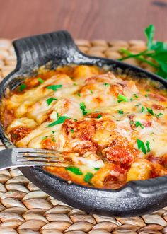 Gnocchi with Bacon, Tomato Sauce and Mozzarella a true and delicious comfort meal.