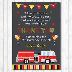 Fire Truck Thank you Card Fire Truck  thank you note