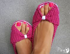 These are really cute open toe house slippers. Crochet pattern on Ravelry