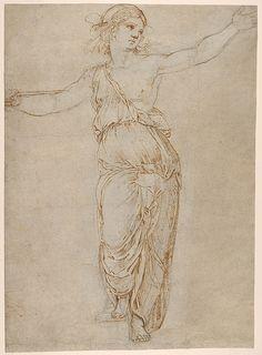 Lucretia. Artist: Raphael (Raffaello Sanzio or Santi) (Italian, Urbino 1483–1520 Rome) Date: 1508–1510 Medium: Pen and brown ink over black chalk, partially incised with a stylus (recto); rubbed with black chalk for transfer (verso)