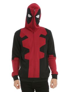 Marvel Deadpool Costume Full Zip Hoodie.  NEED.